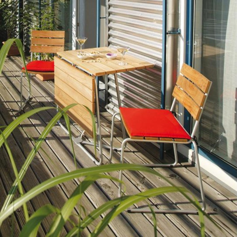 Balcony Klapp-Tisch, 70 x 100 cm, Tischplatte Teak